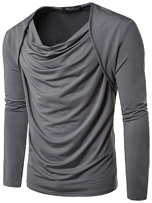 Cowl Neck Plain Men T-Shirt
