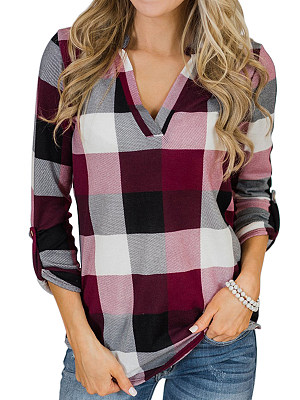 V Neck Loose Fitting Checkered Blouses фото