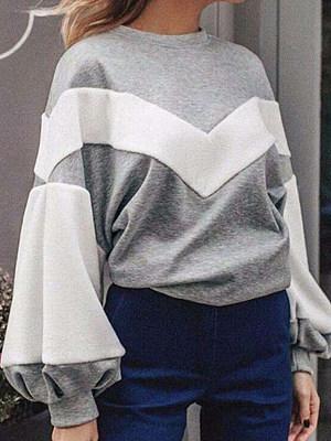 Casual  Plain  Puff Sleeve  Long Sleeve Sweatshirt