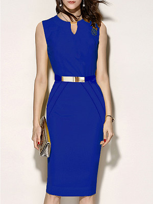 Round Neck Plain Bodycon Dress фото