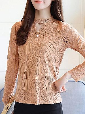Tachibana Patchwork Elegant Lace Long Sleeve Blouse, 9358396