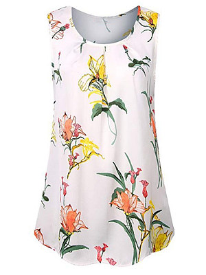 Round Neck Patchwork Floral Printed Sleeveless T-Shirts, 7145971