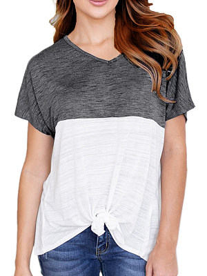 Round Neck  Lace Up  Color Block Short Sleeve T-Shirts