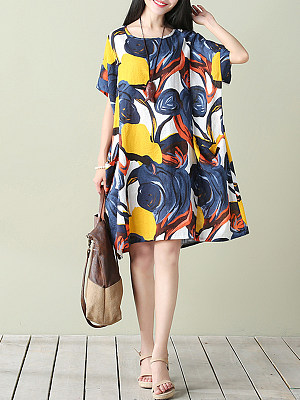 Oversized Round Neck Abstract Print Pocket Shift Dress, 3687015