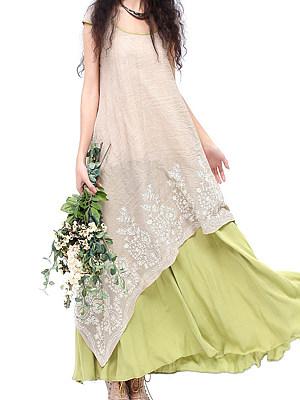 Round Neck Asymmetric Hem Print Maxi Dress