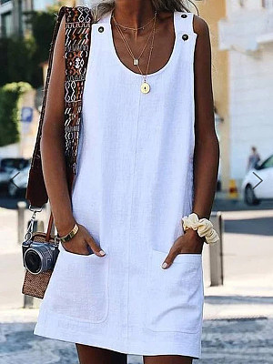 Round Neck Patch Pocket Plain Shift Dress, 6856269