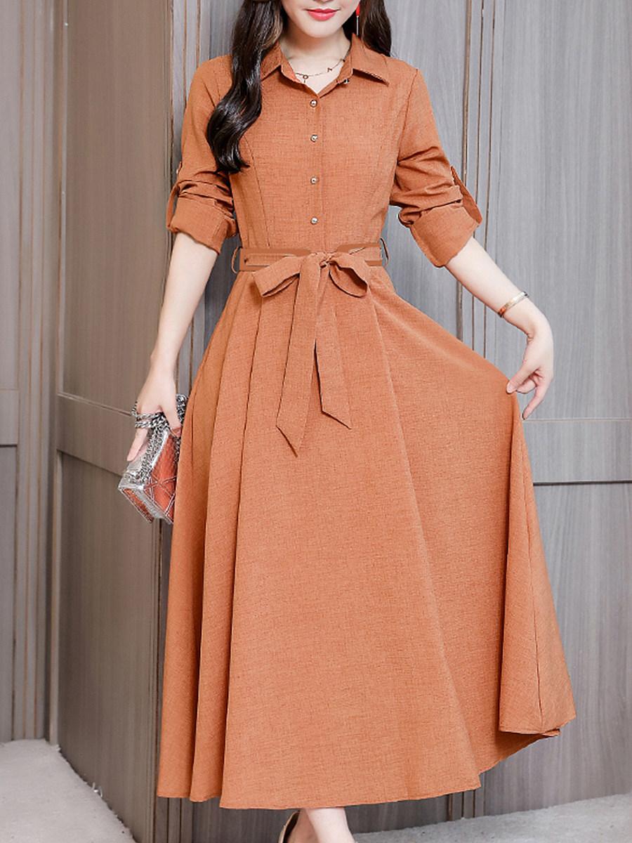 Fold-Over Collar Single Breasted Plain Maxi Dress