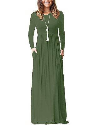 Berrylook Round Neck Plain Maxi Dress sale, shoping, tunic dress, floral maxi dress
