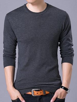 Men Basic Solid Crew Neck Sweater