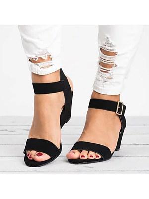 Plain  High Heeled  Velvet  Ankle Strap  Peep Toe  Date Wedge Sandals