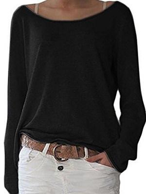Round Neck Plain Long Sleeve T-Shirts фото
