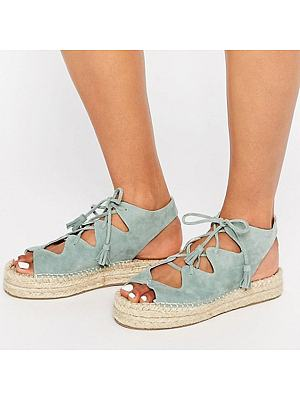 Plain Flat Velvet Peep Toe Casual Date Flat Sandals, 6984173
