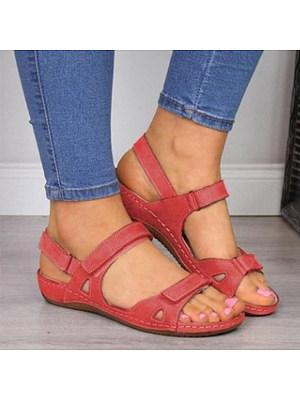 Plain Peep Toe Casual Travel Flat Sandals, 8567307