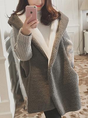 Hooded Pocket Faux Fur Coat, 4061112