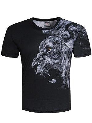 Round Neck 3D Lion Printed T-Shirt