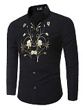 Image of Attractive Printed Turn Down Collar Men Shirts
