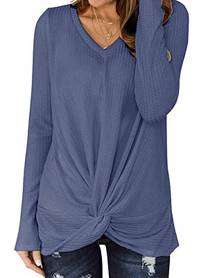 V Neck Patchwork Casual Plain Long Sleeve T-Shirt, 8324241
