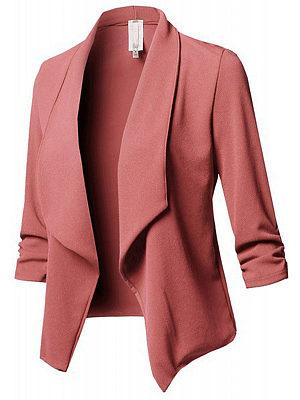 BERRYLOOK Fold Over Collar Plain Blazer