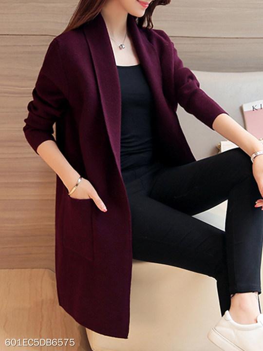 Lapel Elegant Plain Long Sleeve Knit Cardigan
