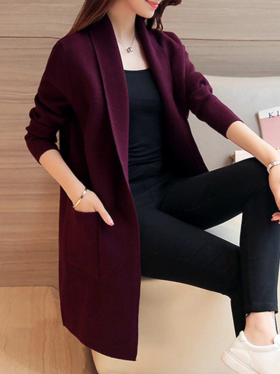 cardigan,Lapel Elegant Plain Long Sleeve Knit Cardigan
