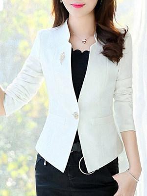 Fashion Solid Color One Button Blazer