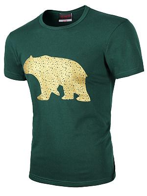 Men Round Neck Bear Printed T-Shirt