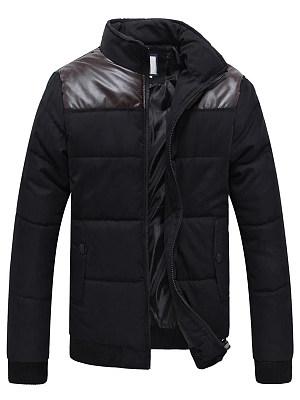 High Neck  Flap Pocket Patchwork Men Padded Coat