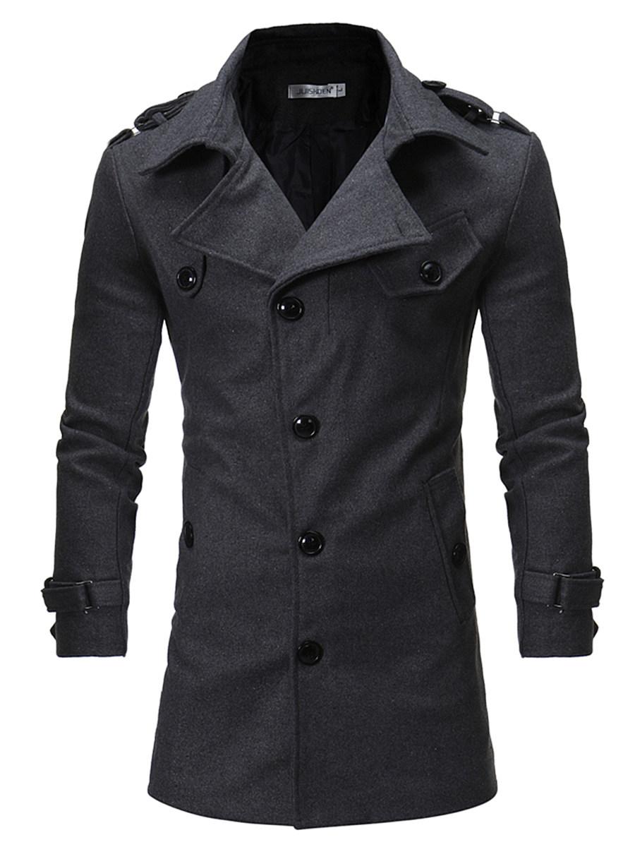 Lapel Men Plain Belt Single Breasted Woolen Coat