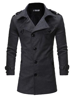Lapel Men Plain Belt Single Breasted Woolen Coat фото