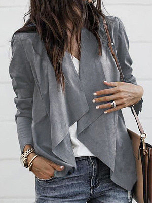 Fold-Over Collar Trench Cardigan