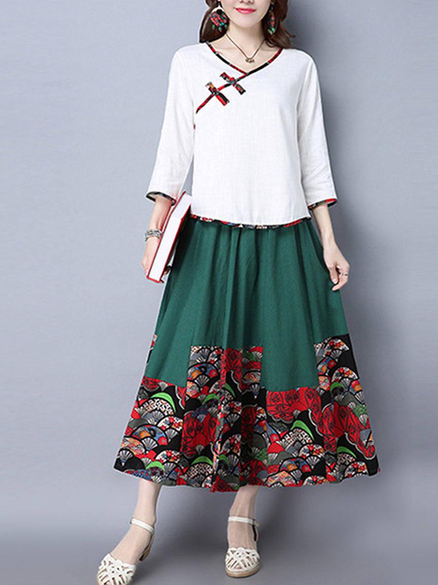Elastic Waist Chinoiserie Printed Flared Maxi Skirt