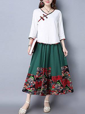 Elastic Waist Chinoiserie Printed Flared Maxi Skirt, 3542732