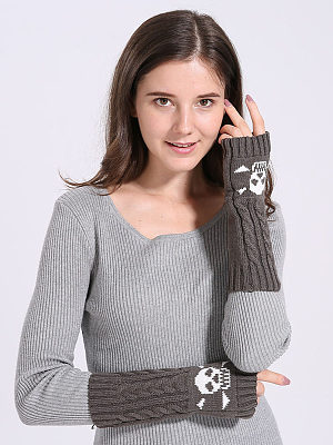 Winter Thick Warm Short Plain Knitted Gloves фото
