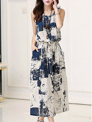 Round Neck Drawstring Patch Pocket Printed Maxi Dress, 4353268