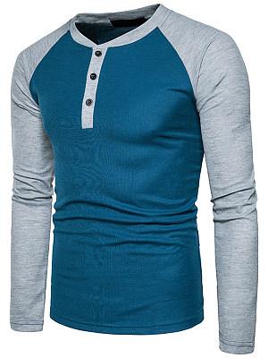 Men Henley Collar  Color Block  Raglan Sleeve T-Shirt