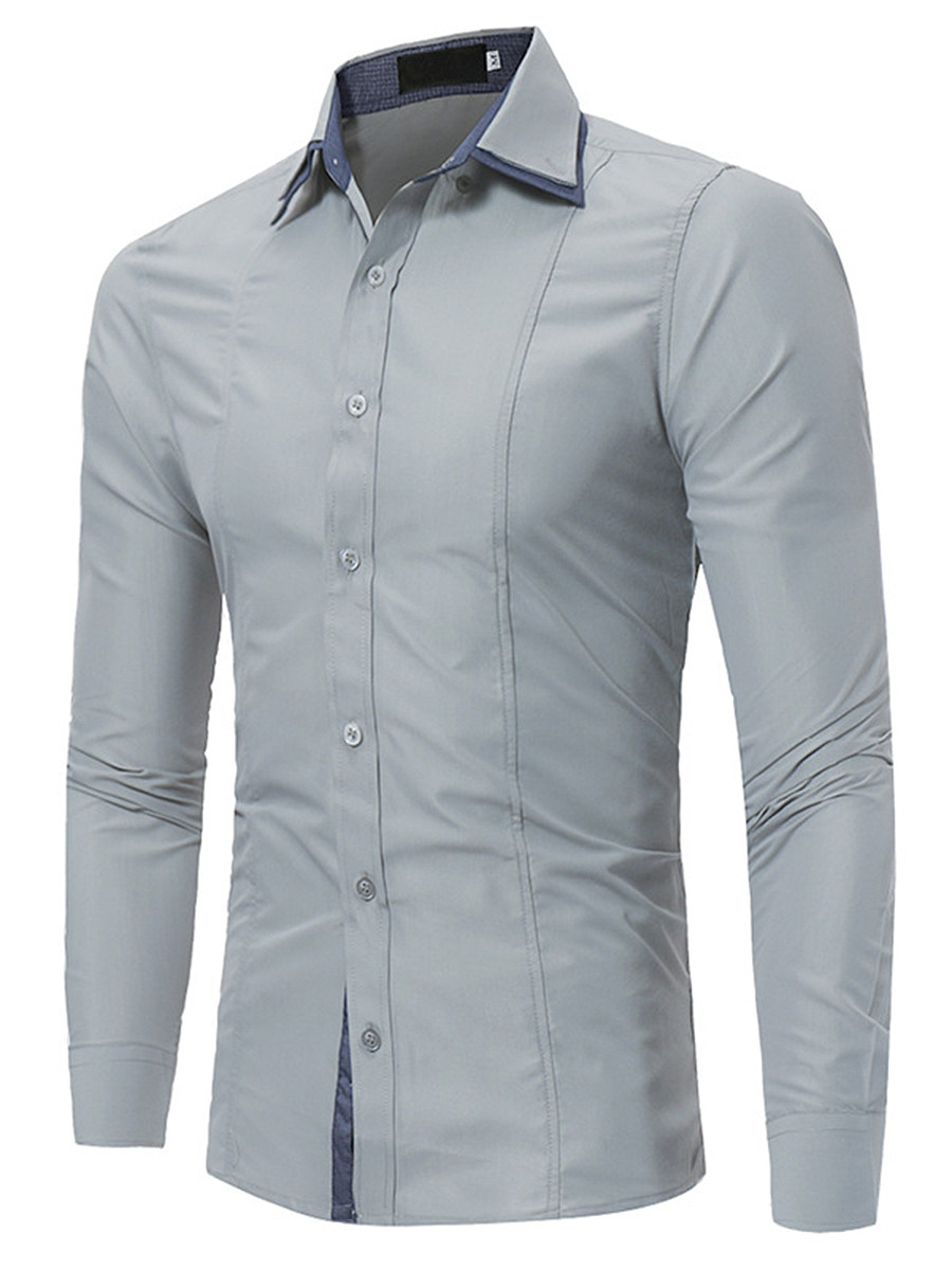 Plain Decorative Patch Men Shirts