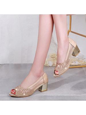 Elegant Chunky Mid Heeled  Date  Peep-Toe Heels