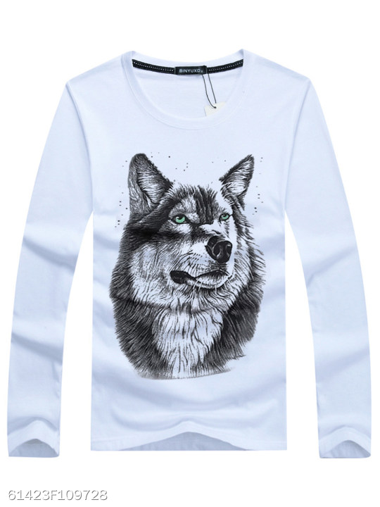 3c01097ddc Men Round Neck 3D Wolf Printed T-Shirt - berrylook.com