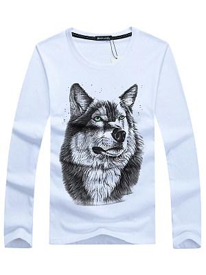 Men Round Neck 3D Wolf Printed T-Shirt