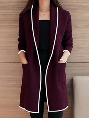 Lapel  Contrast Trim  Plain Trench Coats