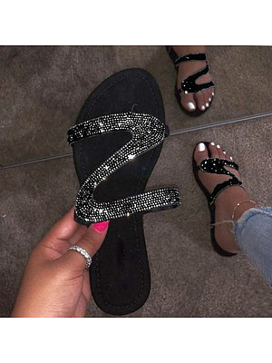 Flat Peep Toe Casual Comfort Slippers, 8172460