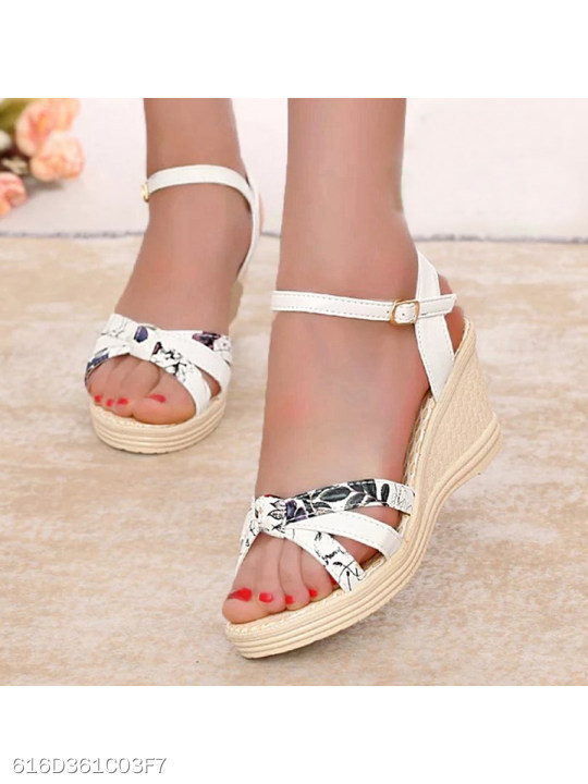 Floral High Heeled Ankle Strap Peep Toe Date Office Wedge