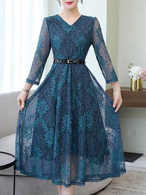 V-Neck Lace Maxi Dress, 8538136