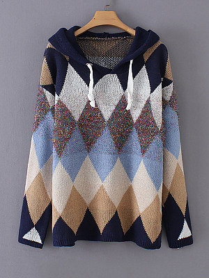 Hat Collar  Patchwork  Casual  Color Block Geometric Printed  Long Sleeve Knit Pullover
