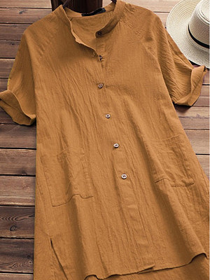 Band Collar Loose Fitting Plain Blouses, 6619766