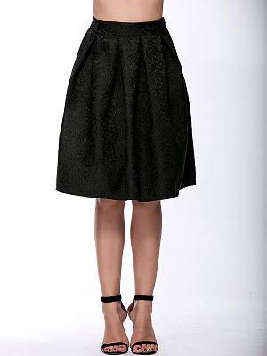 Inverted Pleat Embossed Flared Midi Skirt