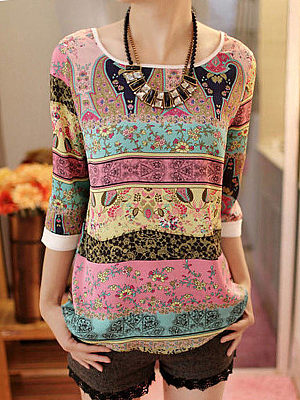 Round Neck  Abstract Print Long Sleeve T-Shirts