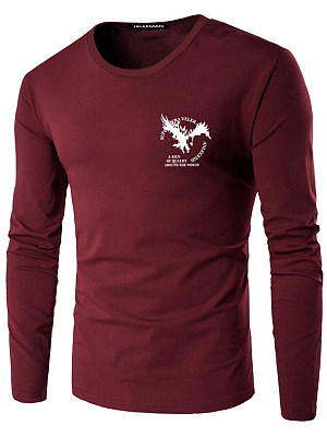 Round Neck Men Eagle Letters Printed T-Shirt
