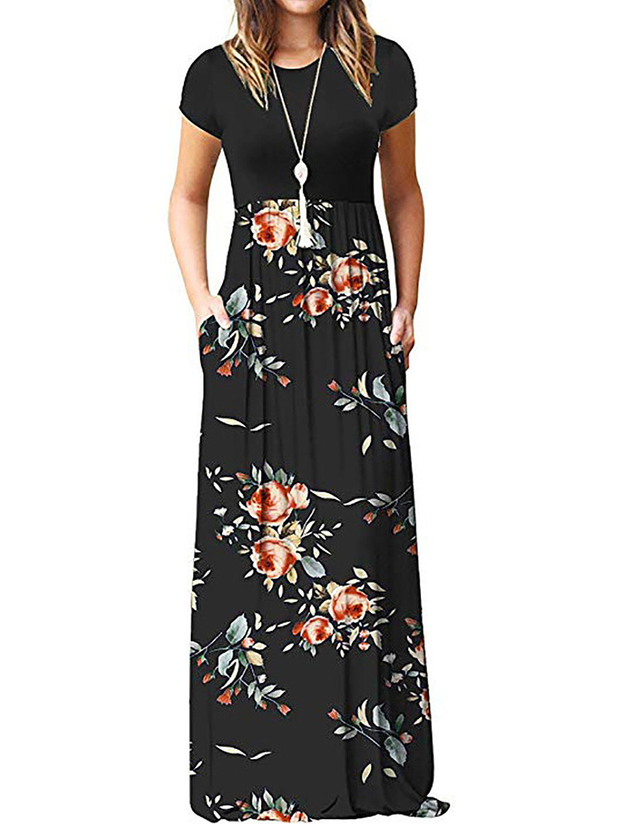 BerryLook Round Neck  Patch Pocket  Floral Printed Maxi Dress