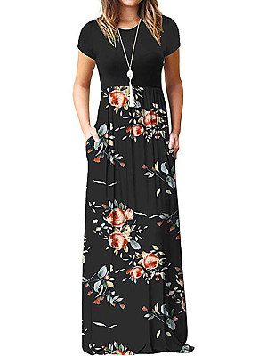 Round Neck  Patch Pocket  Floral Printed Maxi Dress collar_&_neckline:round neck, dress_silhouette:fitted, embellishment:patch pocket, material:polyester, occasion:basic,casual, package_included:dress*1, pattern_type:floral printed, season:summer, sleeve_length:short sleeve, style:basic, how_to_wash:cold gentle machine wash, supplementary_matters:all dimensions are measured manually with a deviation of 2 to 4cm., bust:88,length:135,